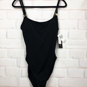La Blanca Black one piece swimsuit with gold rings